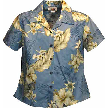 Hibiscus Floral Women S Fitted Hawaiian Blouse Cotton Fitted
