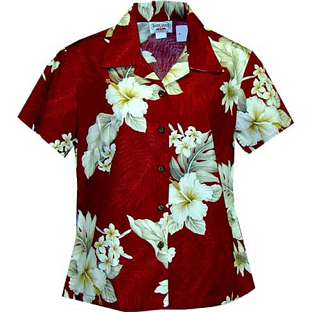 Hibiscus Floral Women's Fitted Hawaiian Blouse