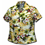 Tropical Diamond Head Womens Fitted Hawaiian Blouse