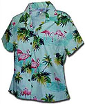Flamingo Lagoon Womens Fitted Hawaiian Blouse