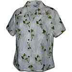 White Hibiscus Palms Women's Fitted Hawaiian Blouse