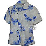 Plumeria Flower Women's Fitted Hawaiian Blouse