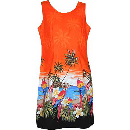 Plumeria Parrot Short Tank Border Print Dress