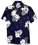 Hibiscus Palms Mens Hawaiian Shirt