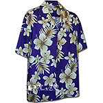 Plumeria Palm Fronds Men's Hawaiian Shirt