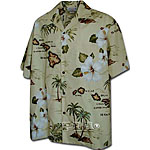 Islands Hibiscus Palm Tree Mens Hawaiian Shirt