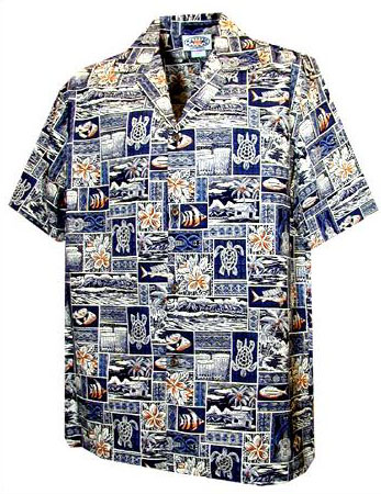Island Fishing Mens Hawaiian Shirt
