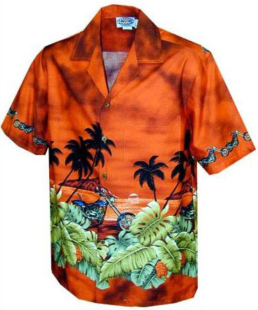 Island Chopper Mens Hawaiian Border Shirt