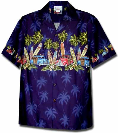 Longboard Woody Mens Hawaiian Chest Shirt