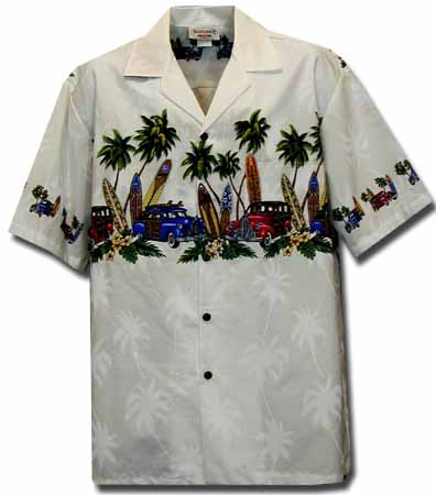 53bb4499 Longboard Woody Mens Hawaiian Chest Shirt, Cotton Engineered Matched Front,  Chest and Border Print Hawaiian Shirts