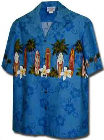 Surfboard Floral Mens Hawaiian Chest Shirt