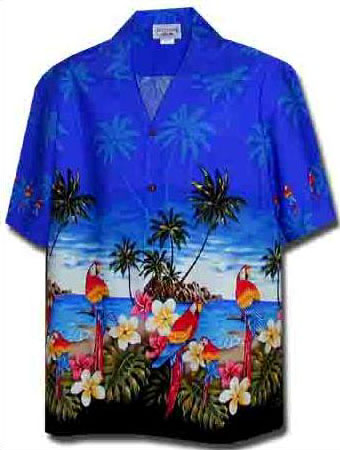 Plumeria Parrot Mens Hawaiian Border Shirt