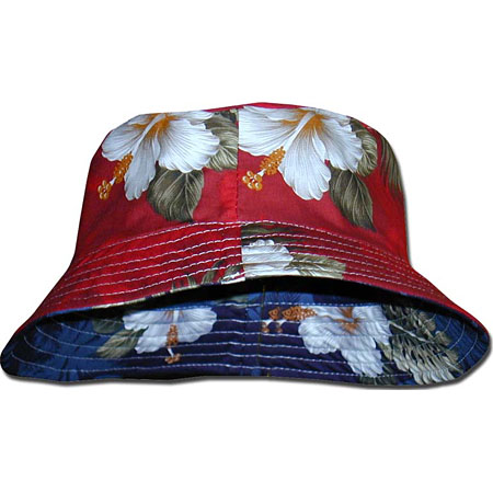 Hibiscus Palms Small Hawaiian Reversible Bucket Hat c08d49ac324