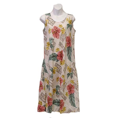 Hibiscus Woodblock Singlet Bias Dress Sleeveless